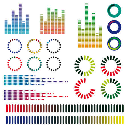 power meter: A set of color equalizers. Vector illustration