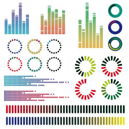 Un conjunto de ecualizadores de color. Ilustración vectorial Ilustración de vector
