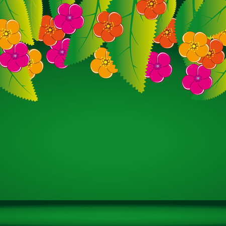 naturism: The green background with leaves and flowers. Vector illustration Illustration