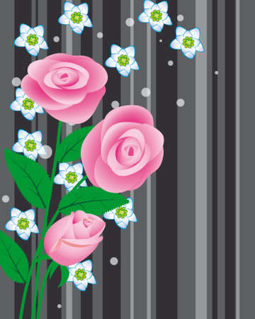 A bouquet of pink roses. Vector illustration Stock Vector - 9486825