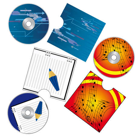 A set of CDs with covers. Vector illustration Vector