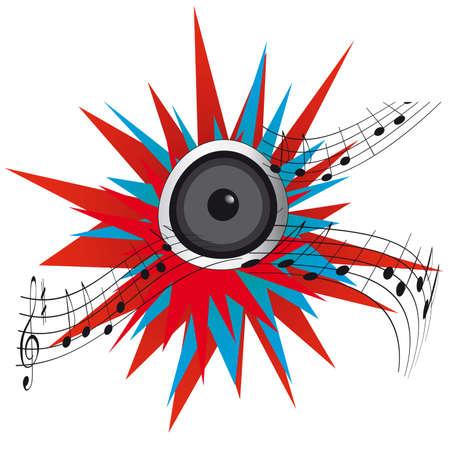 Loud music from a speaker. Vector illustration Stock Vector - 9486823