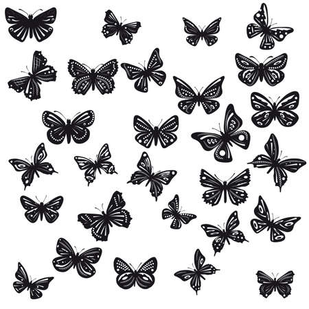Silhouettes of butterflies with patterns. Stock Vector - 9529330