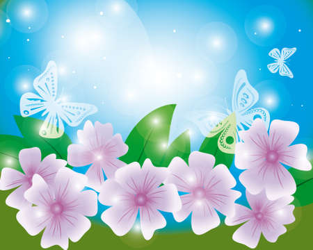 naturism: Summer background with butterflies and flowers.