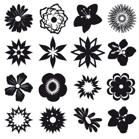naturism: A set of silhouettes of flowers. Illustration