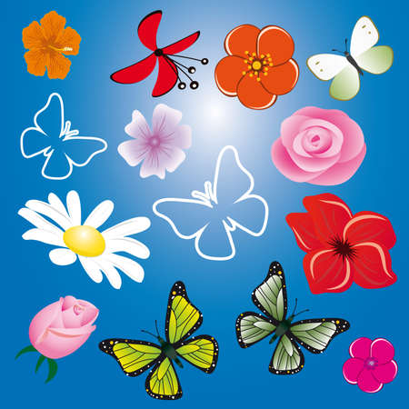 A collection of flowers and butterflies. Stock Vector - 9529334