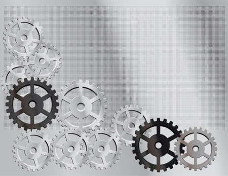 idler: Gray background with the gears. Vector illustration