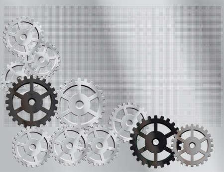 cogs: Sfondo grigio con gli ingranaggi. Illustrazione vettoriale