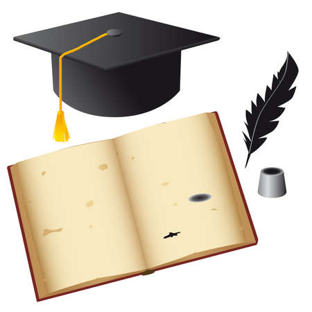 Set of isolated objects for the student. Vector illustration Vector