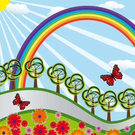 naturism: Rainbow over the highway and the meadow. Vector illustration
