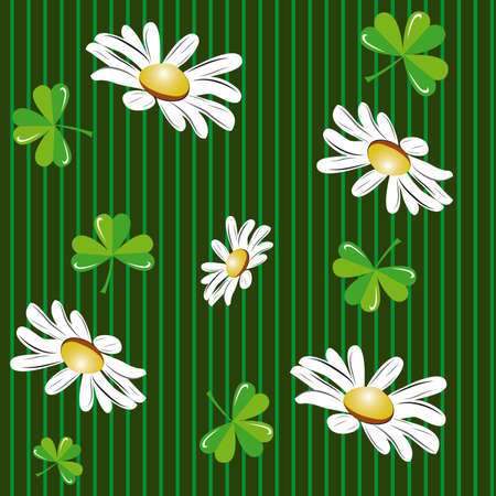 Seamless background with camomiles and clover Vector