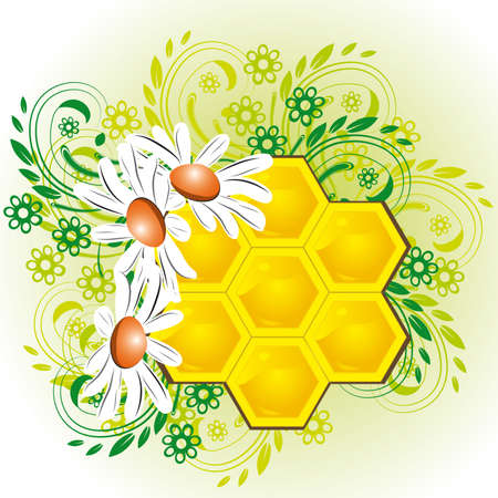 honeyed: Summer background with bee honeycombs and flowers