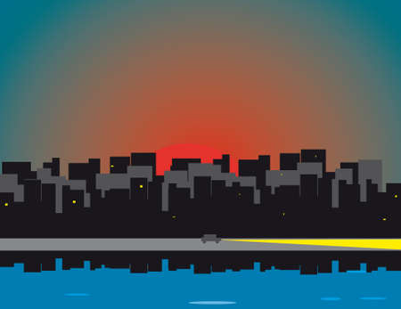 Sunrise over the city and the waterfront Stock Vector - 9668691