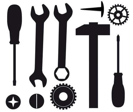 Een set van instrumenten voor reparaties. Vectorillustratie