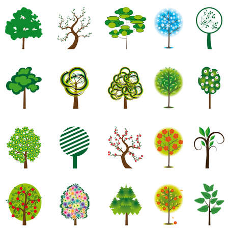 The collection of trees for design. Vector illustration Stock Vector - 9805743