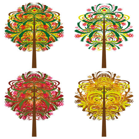 A collection of magical trees. Vector illustration Stock Vector - 9805746