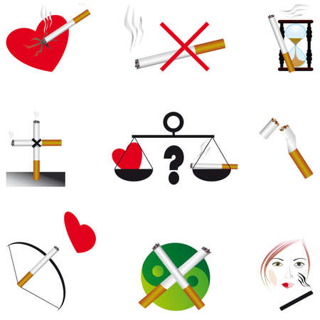 Set of icons on the dangers of smoking. Vector illustration Vector