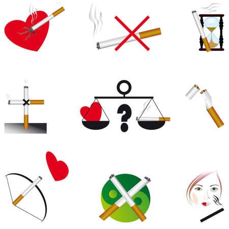 zarar: Set of icons on the dangers of smoking. Vector illustration Çizim