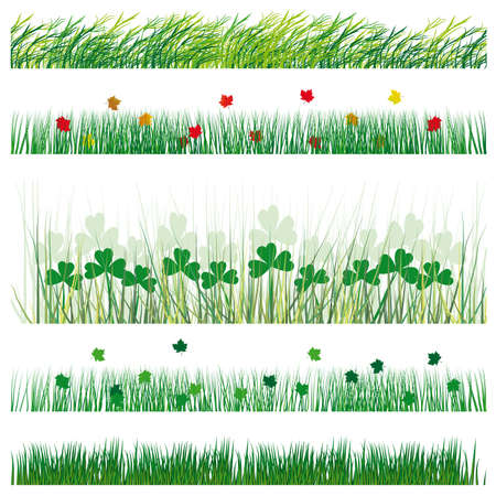 A set of strips of grass and leaves. Vector illustration Stock Vector - 9931165
