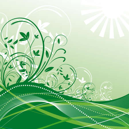 naturism: Abstract green background with plants. Vector illustration Illustration