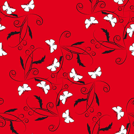 naturism: Red seamless background with flowers and butterflies. Vector illustration