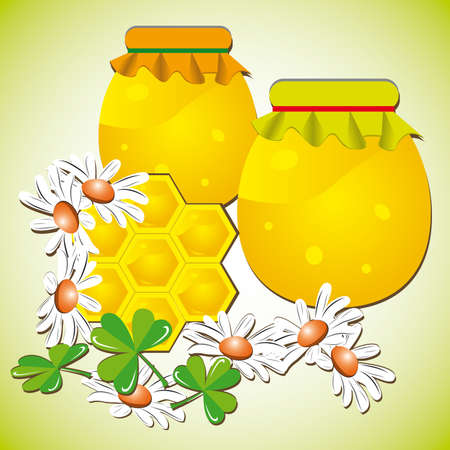 naturism: Summer background with bee honeycombs and flowers Vector illustration Illustration
