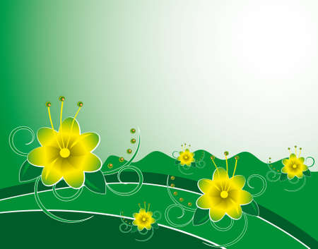naturism: Summer background with yellow flowers. Vector illustration Illustration
