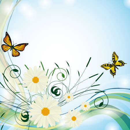 naturism: Summer background with butterflies and flowers. Vector illustration