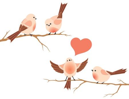 Het vogeltje zingt een liefdeslied en drie birdies luisteren. Vector illustratie.