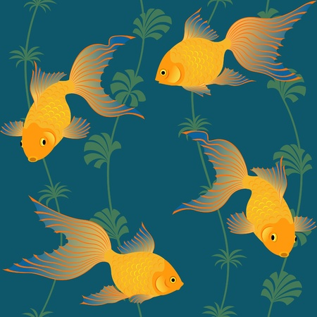Seamless repeat pattern with gold fish and seaweeds. Vector