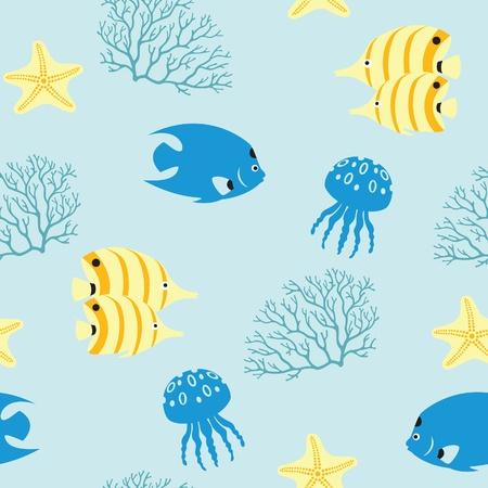 Naadloze herhaling zee patroon met vissen, koralen, zeesterren en kwallen. Stock Illustratie