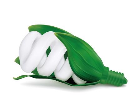 ECO spiral compact fluorescent light bulb concept Vector
