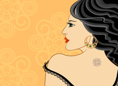 Beautiful woman with tattoo in profile. Vector