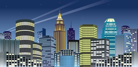 Beautiful night cityscape of downtown. Stock Vector - 9616236