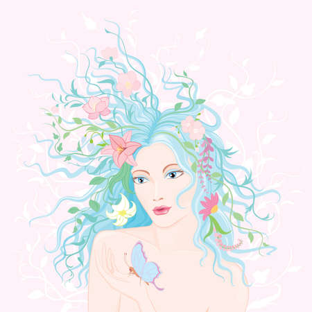 female pink: Beautiful woman with flowers in her hair.
