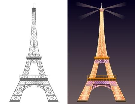 Silhouet van Eiffel toren en Eiffeltoren met verlichting 's nachts. Stock Illustratie