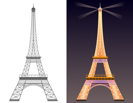 Silhouette of Eiffel tower and Eiffel tower with illumination at night. Vector