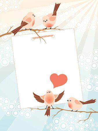 Vector frame met schattige birdies, decoratieve wolken, zonnestralen en de plaats voor uw tekst.