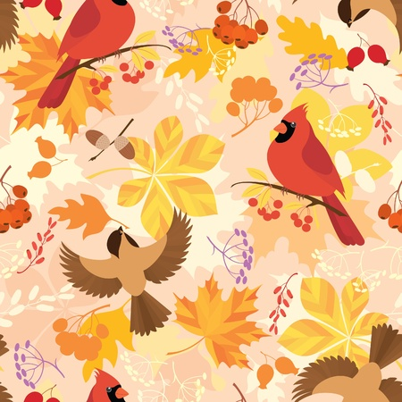 Seamless repeat pattern with autumn leaves, berries and birds. Vector