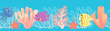 Seamless repeat sea pattern with fish, corals, starfish  and  jellyfish. Vector