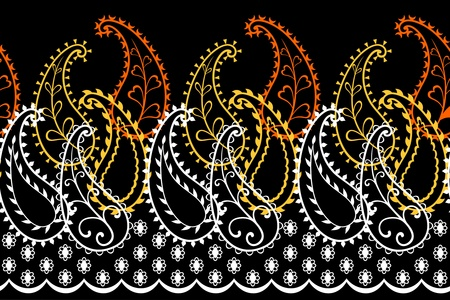 textiles: Seamless repeat paisley border on black background.