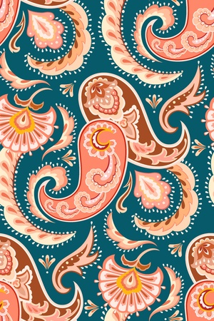 Colorful seamless repeat paisley pattern in oriental style.