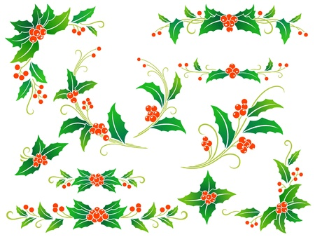Collection of decorative holly branches for your design: corners, divides, frame elements and rosettes. Vector