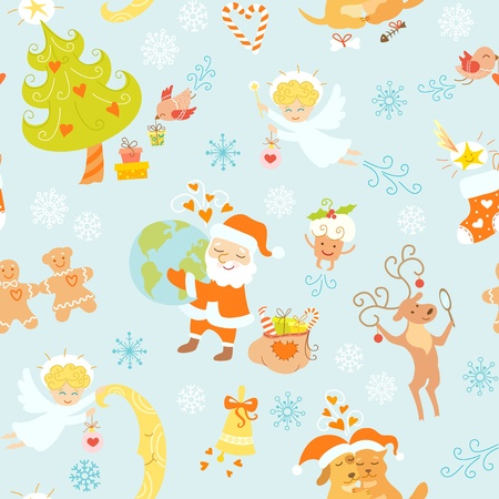Christmas seamless pattern with nice cartoon characters and Christmas symbols. Vector