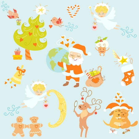 Set of Christmas symbols and funny cartoon characters for your design. Vector