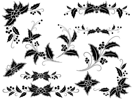 Collection of decorative holly branches for your design: corners, divides, frame elements and rosettes.