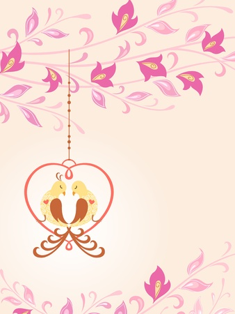 Floral illustration with birds in love sitting in decorative heart. Vertical version. Stock Vector - 11958895