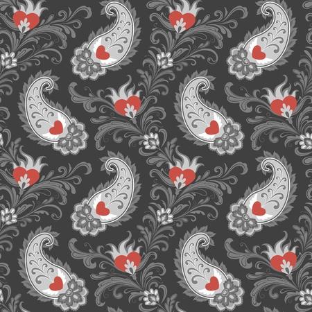 Naadloze gestileerde oostelijke patroon met hart en paisley.