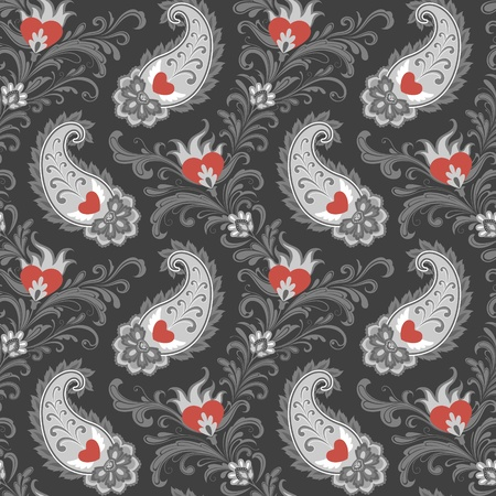 gray pattern: Seamless stylized eastern pattern with hearts and paisley. Illustration