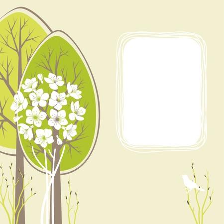 Spring scene met decoratieve bomen en ruimte voor tekst.